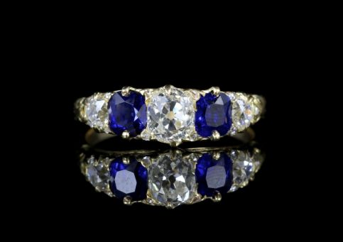 Antique Victorian Sapphire Diamonds Ring 18ct 5 Stone Ring Circa 1880