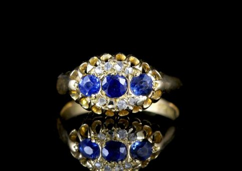 Antique Edwardian Sapphire Diamond Ring 18ct Dated Chester 1903