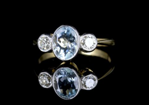 Aquamarine Diamond Trilogy Ring 18ct Gold Engagement Ring