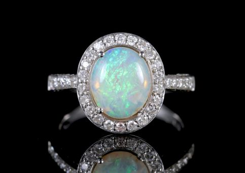 Opal Diamond Ring 18ct White Gold Opal Ring
