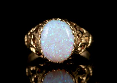 OPAL SOLITAIRE RING 9CT GOLD OPAL RING