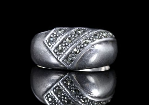 MARCASITE SILVER RING BAND RING