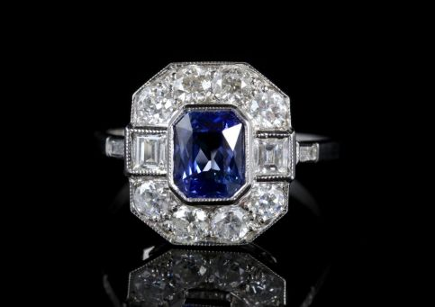 Antique Art Deco Sapphire Diamond Ring 18ct Circa 1920