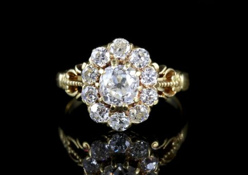 Antique Victorian Diamond Cluster Ring 18ct Cluster Ring Circa 1880