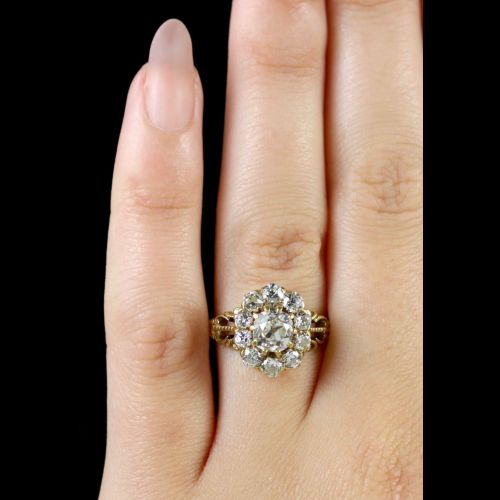 Victorian Wedding Rings | Antique Victorian Diamond Cluster Ring 18ct Cluster Ring Circa 1880