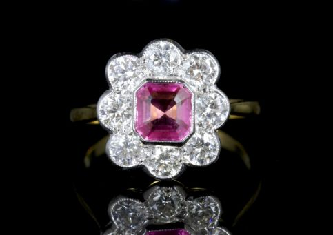 Antique Victorian Pink Sapphire Diamonds Ring 18ct Circa 1900