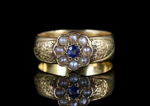 Antique Victorian Sapphire Pearl Wedding Band Ring 18ct Circa 1900