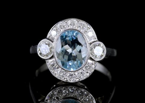Aquamarine Diamond 18ct White Gold Ring 2.60ct Aquamarine