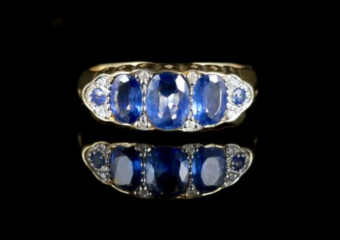 Sapphire Diamond Trilogy Ring 9ct Gold Ring