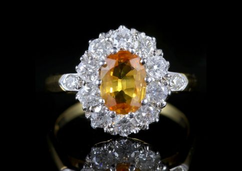 Yellow Sapphire Diamond Cluster Ring 18ct Gold Ring