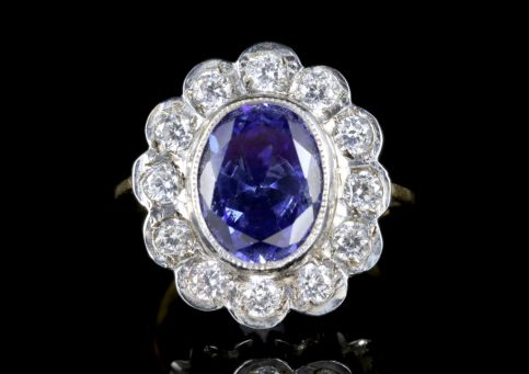 BLUE CZ TANZANITE CLUSTER RING SILVER 18CT GOLD GILT