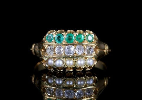 Antique Victorian Emerald Diamond Pearl Ring 18ct Gold Dated 1882