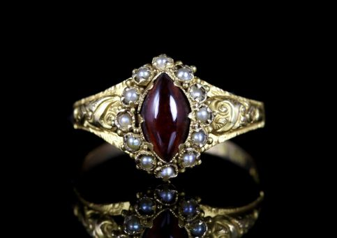 Antique Georgian Garnet Pearl Ring 18ct Gold Circa 1820