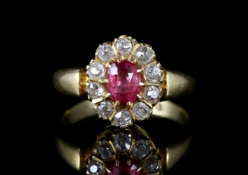 Antique Victorian Pink Sapphire Diamond Ring 18ct Dated 1891