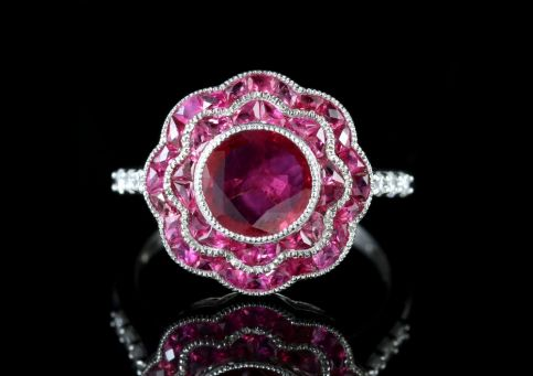 Ruby Cluster Diamond Ring 18ct White Gold Ring