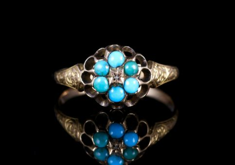 ANTIQUE GEORGIAN TURQUOISE DIAMOND CLUSTER RING 18CT GOLD CIRCA 1800