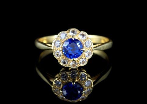 ANTIQUE VICTORIAN SYNTHETIC BLUE SPINEL RING 9CT GOLD CIRCA 1900