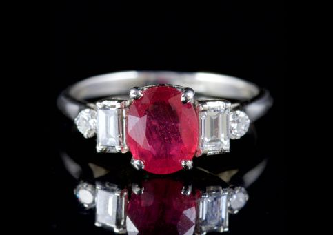 ANTIQUE EDWARDIAN DIAMOND RUBY RING PLATINUM CIRCA 1915