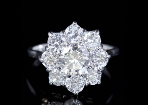 Antique 2ct Diamond Cluster Ring Engagement Ring 18ct Circa 1915