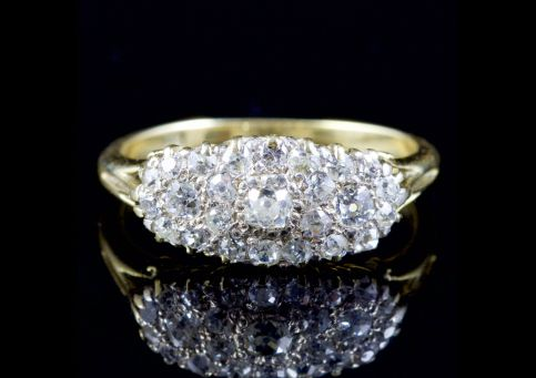 Antique Victorian Diamond Cluster Pave Set Ring 18ct Circa 1880