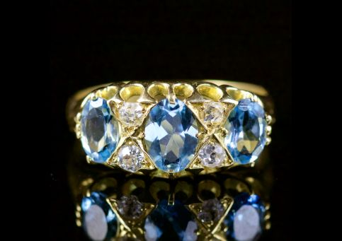 Antique Victorian Aquamarine Diamond Ring 18ct Gold Circa 1880