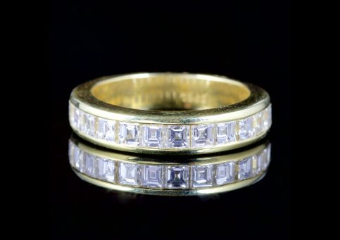 Princess Cut Diamond Half Eternity Ring 18ct Gold
