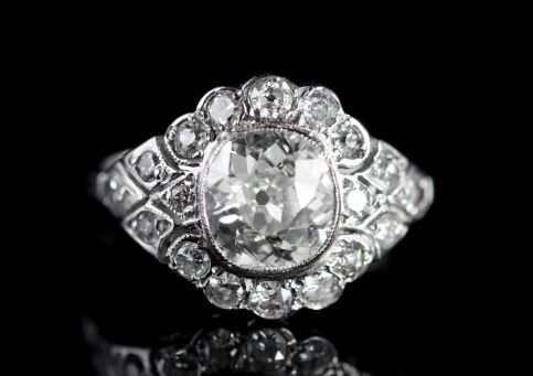 ANTIQUE DIAMOND CLUSTER RING 18CT WHITE GOLD 3.26CT FRONT