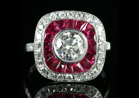 ruby carat gold circa ring shaped rings antique img image mine halo cluster with engagement red in old diamond cut daisy