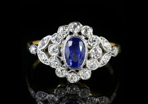 DIAMOND SAPPHIRE CLUSTER RING 18CT GOLD FRONT