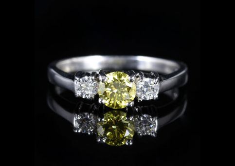 Fancy Yellow Diamond Trilogy Ring 18ct White Gold Engagement Ring front