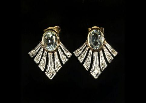 TOPAZ AND DIAMOND FAN EARRINGS 9CT GOLD