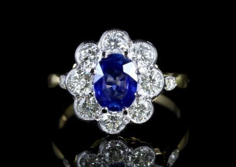 SAPPHIRE DIAMOND RING CLUSTER 18CT GOLD RING SPECTACULAR SAPPHIRE