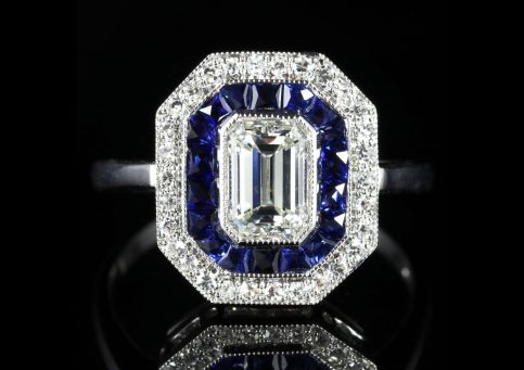 SAPPHIRE DIAMOND EMERALD CUT DIAMOND RING VS1 DIAMONDS FRENCH CUT SAPPHIRES 18CT GOLD FRONT