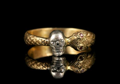 Momento Mori Diamond Ruby Skull Snake Ring 18ct Gold front1