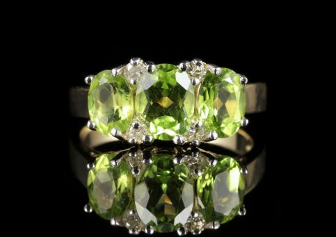 Peridot Diamond Trilogy Ring 9ct Gold Ring