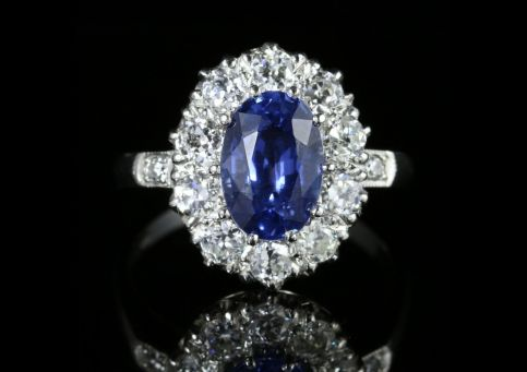 Antique Edwardian Sapphire Diamond Ring Platinum Circa 1910 front view