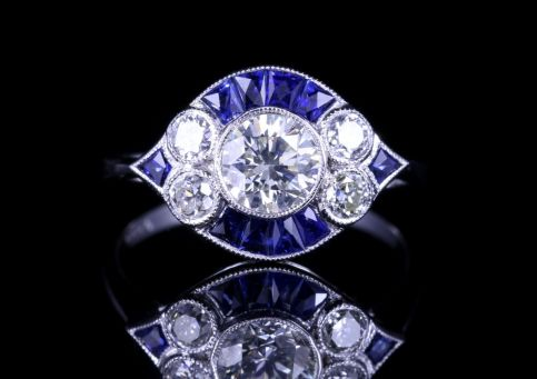 Art Deco Sapphire Diamond Cluster Ring 18ct White Gold 1.28ct front view