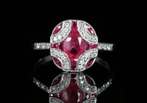 Ruby and Diamond Ring 18ct White Gold Beautiful Cluster front view
