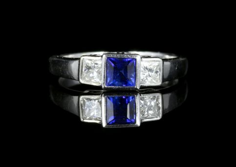 Sapphire Diamond Trilogy Ring 18ct White Gold front view
