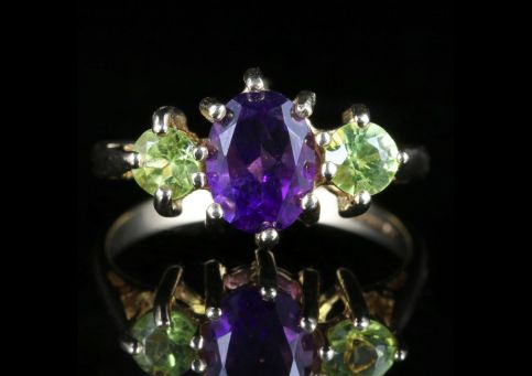 Suffragette Gold Trilogy Ring Peridot Amethyst 9ct Gold front view