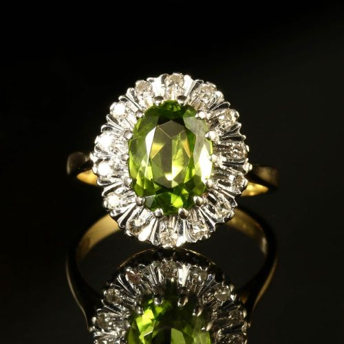 vintage peridot diamond cluster ring engagement ring