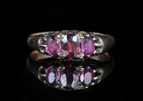 Victorian Almandine Garnet Rose Gold Trilogy Ring front view