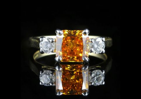 Yellow Diamond Trilogy Ring 18ct White Gold 2.20ct Princess Cut Diamond