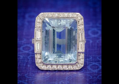 ART DECO AQUAMARINE DIAMOND RING PLATINUM 18CT AQUA CIRCA 1930 cover