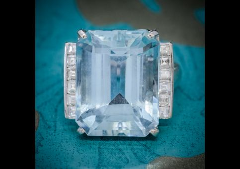 ART DECO AQUAMARINE DIAMOND RING PLATINUM 12CT AQUA CIRCA 1930 COVER
