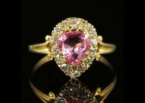 1Antique Victorian Pink Sapphire Diamond Ring 18ct Gold front view