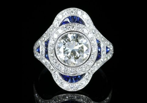 Diamond Sapphire Ring 4ct Diamond 18ct White Gold front view