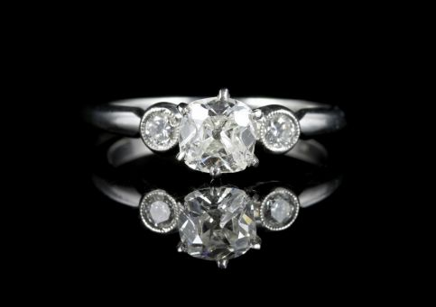 Diamond Trilogy Engagement Ring Platinum 1.08ct Old Cut Diamond front view
