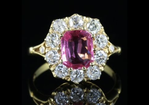 Pink Sapphire Diamond Cluster Ring 18ct Gold front view