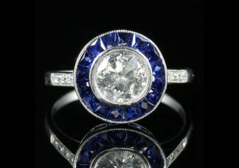 Sapphire Diamond Ring 1.50ct Old Cut Diamond French Cut Sapphires Engagement Ring front view